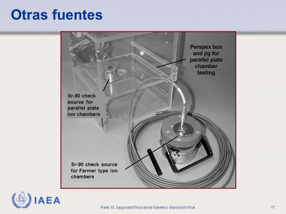 IAEA Parte 15. Seguridad física de las fuentes y disposición final17 Otras fuentes Sr-90 check source for parallel plate ion chambers Sr-90 check sour