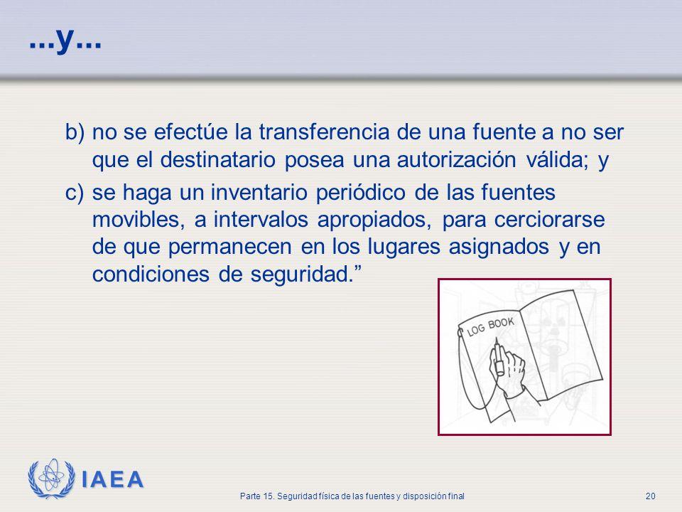 IAEA Parte 15. Seguridad física de las fuentes y disposición final20...y... b)no se efectúe la transferencia de una fuente a no ser que el destinatari