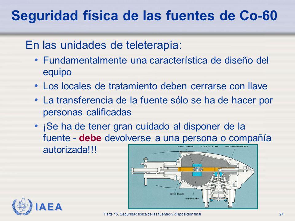 IAEA Parte 15. Seguridad física de las fuentes y disposición final24 Seguridad física de las fuentes de Co-60 En las unidades de teleterapia: Fundamen