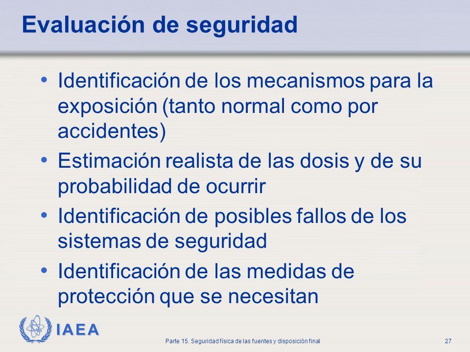 IAEA Parte 15. Seguridad física de las fuentes y disposición final27 Evaluación de seguridad Identificación de los mecanismos para la exposición (tant