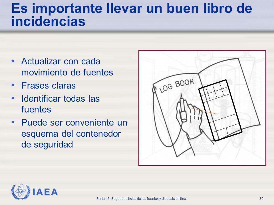 IAEA Parte 15. Seguridad física de las fuentes y disposición final30 Es importante llevar un buen libro de incidencias Actualizar con cada movimiento