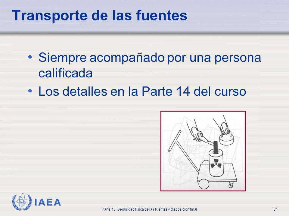 IAEA Parte 15. Seguridad física de las fuentes y disposición final31 Transporte de las fuentes Siempre acompañado por una persona calificada Los detal