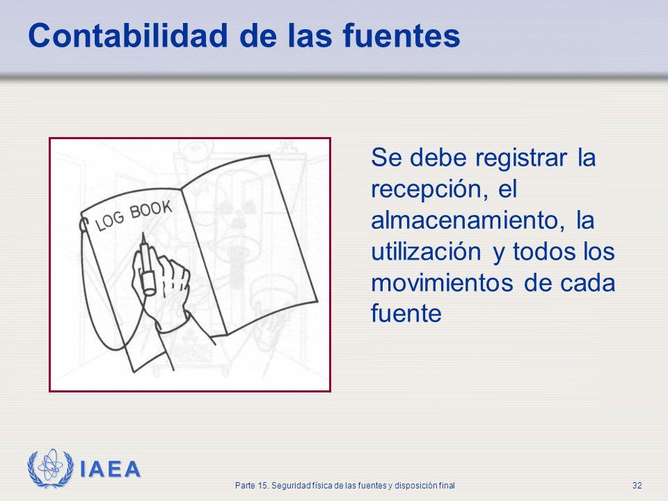 IAEA Parte 15. Seguridad física de las fuentes y disposición final32 Contabilidad de las fuentes Se debe registrar la recepción, el almacenamiento, la