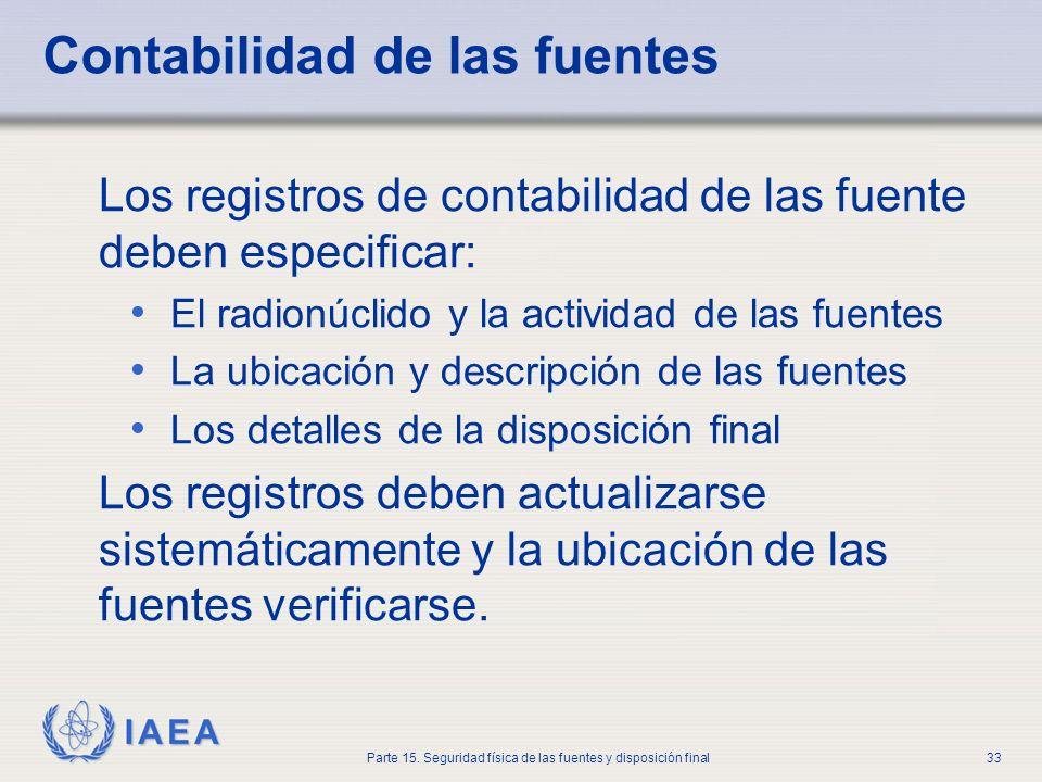 IAEA Parte 15. Seguridad física de las fuentes y disposición final33 Contabilidad de las fuentes Los registros de contabilidad de las fuente deben esp
