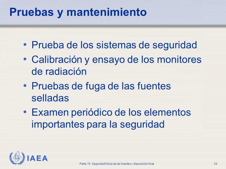 IAEA Parte 15. Seguridad física de las fuentes y disposición final34 Pruebas y mantenimiento Prueba de los sistemas de seguridad Calibración y ensayo