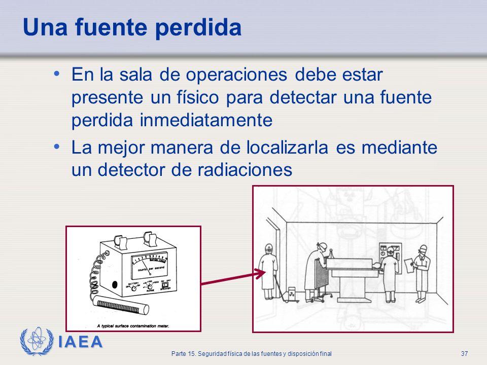 IAEA Parte 15. Seguridad física de las fuentes y disposición final37 Una fuente perdida En la sala de operaciones debe estar presente un físico para d