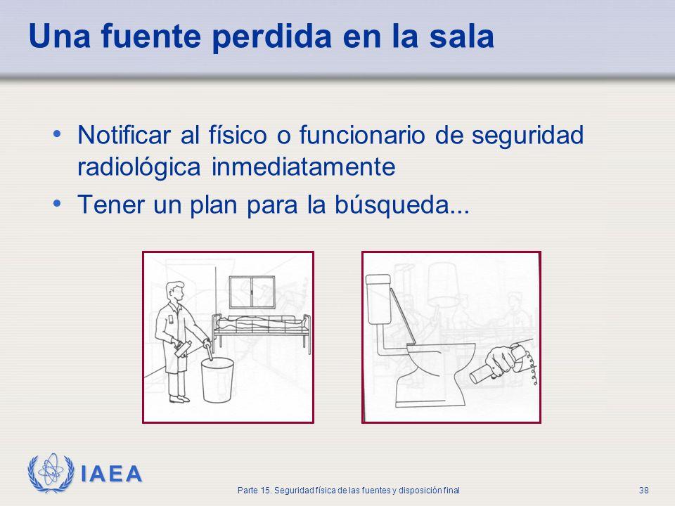IAEA Parte 15. Seguridad física de las fuentes y disposición final38 Una fuente perdida en la sala Notificar al físico o funcionario de seguridad radi