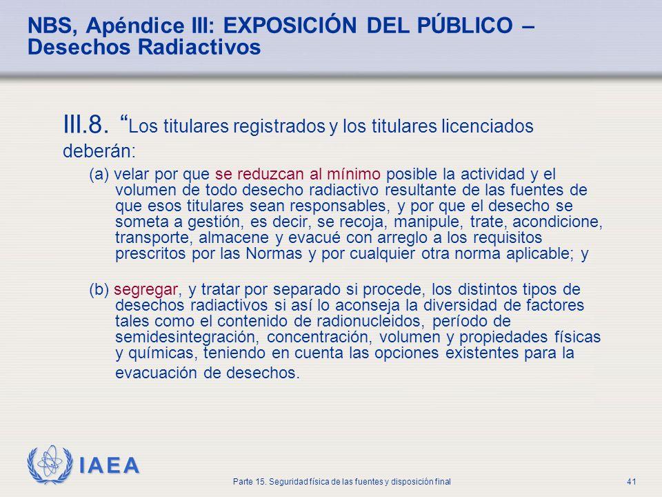 IAEA Parte 15. Seguridad física de las fuentes y disposición final41 NBS, Apéndice III: EXPOSICIÓN DEL PÚBLICO – Desechos Radiactivos III.8. Los titul