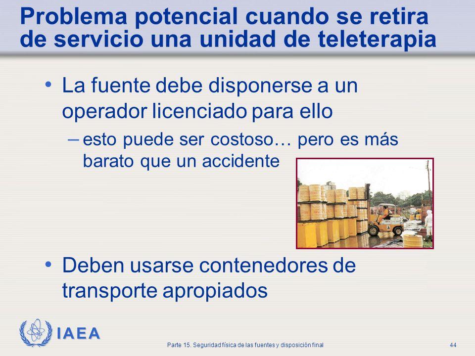 IAEA Parte 15. Seguridad física de las fuentes y disposición final44 Problema potencial cuando se retira de servicio una unidad de teleterapia La fuen
