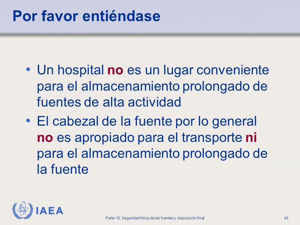 IAEA Parte 15. Seguridad física de las fuentes y disposición final45 Por favor entiéndase Un hospital no es un lugar conveniente para el almacenamient