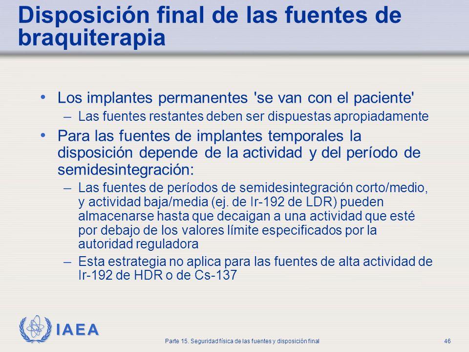 IAEA Parte 15. Seguridad física de las fuentes y disposición final46 Disposición final de las fuentes de braquiterapia Los implantes permanentes 'se v