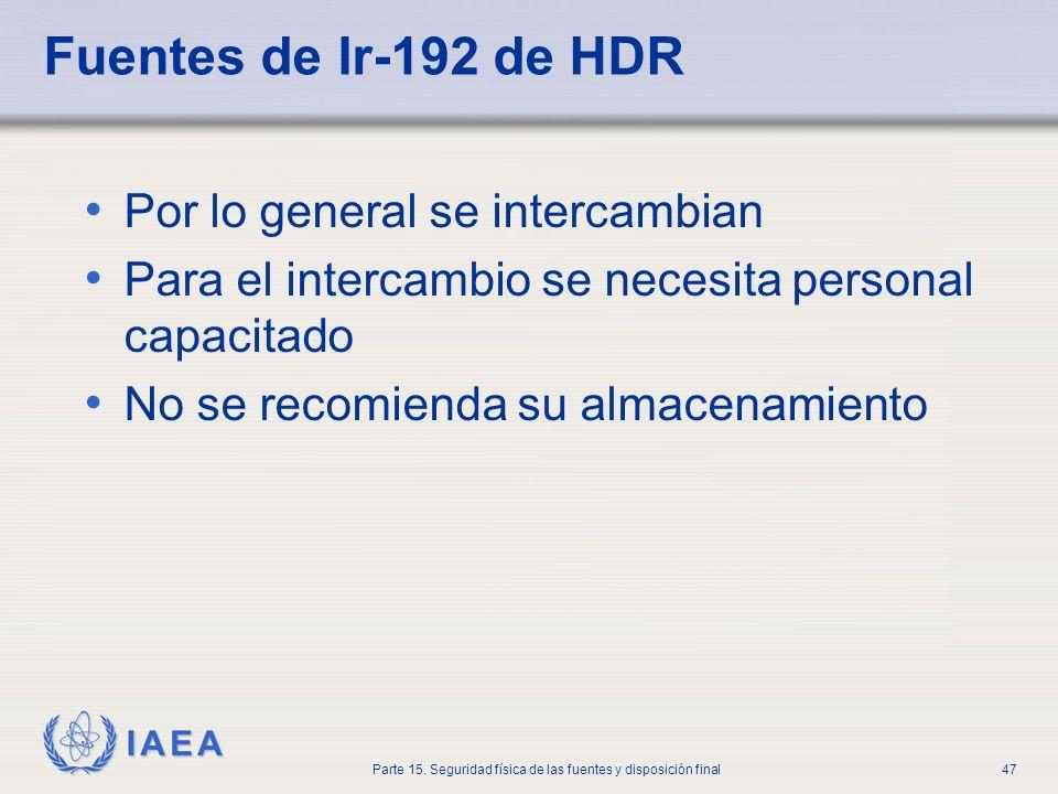 IAEA Parte 15. Seguridad física de las fuentes y disposición final47 Fuentes de Ir-192 de HDR Por lo general se intercambian Para el intercambio se ne