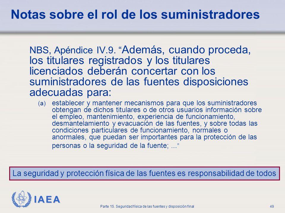 IAEA Parte 15. Seguridad física de las fuentes y disposición final49 Notas sobre el rol de los suministradores NBS, Apéndice IV.9. Además, cuando proc