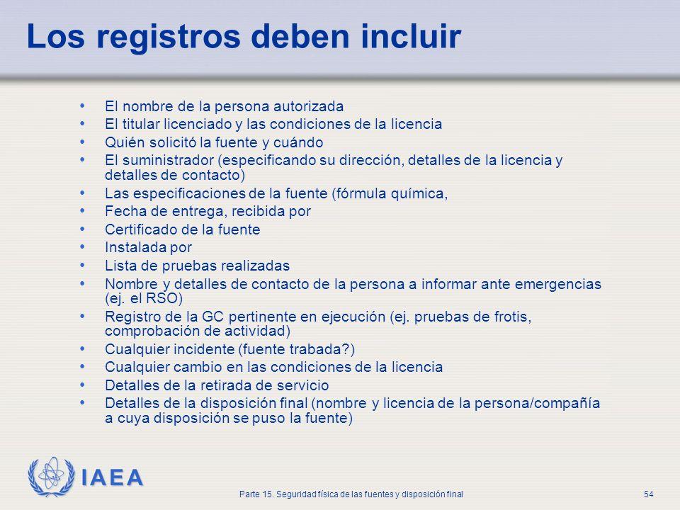 IAEA Parte 15. Seguridad física de las fuentes y disposición final54 Los registros deben incluir El nombre de la persona autorizada El titular licenci
