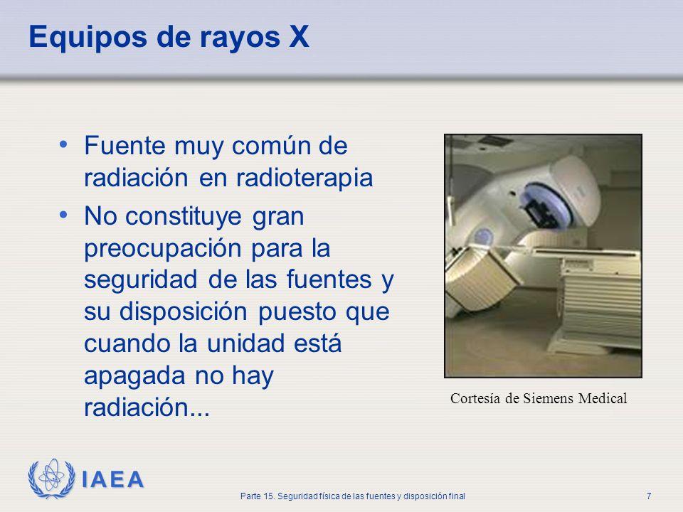 IAEA Parte 15. Seguridad física de las fuentes y disposición final7 Equipos de rayos X Fuente muy común de radiación en radioterapia No constituye gra