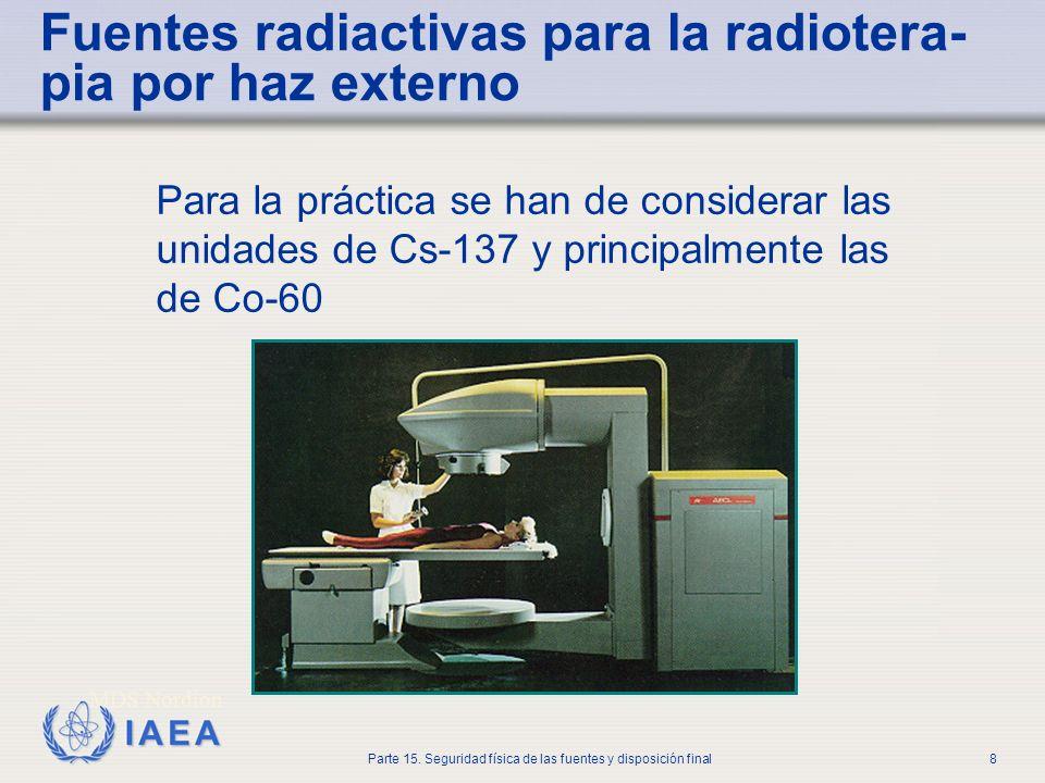 IAEA Parte 15. Seguridad física de las fuentes y disposición final8 Fuentes radiactivas para la radiotera- pia por haz externo Para la práctica se han