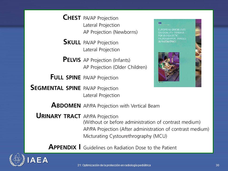 IAEA 21: Optimización de la protección en radiología pediátrica 30