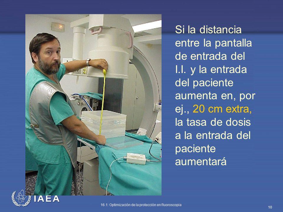 IAEA 16.1: Optimización de la protección en fluoroscopia 10 Si la distancia entre la pantalla de entrada del I.I. y la entrada del paciente aumenta en