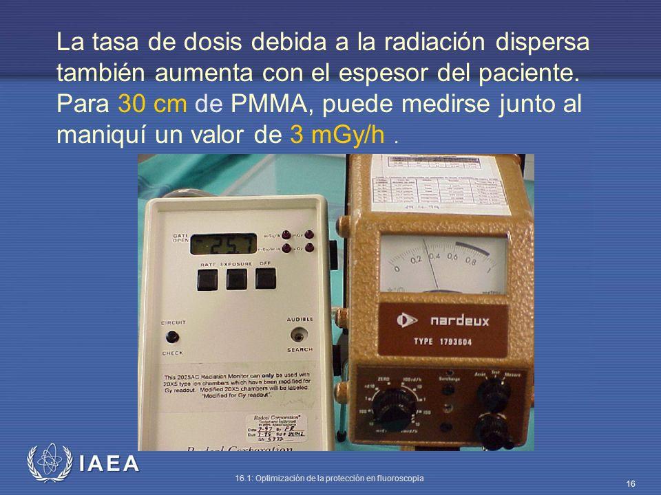 IAEA 16.1: Optimización de la protección en fluoroscopia 16 La tasa de dosis debida a la radiación dispersa también aumenta con el espesor del pacient