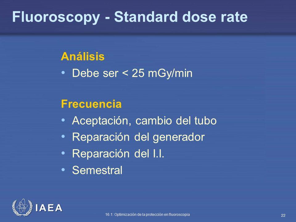 IAEA 16.1: Optimización de la protección en fluoroscopia 22 Fluoroscopy - Standard dose rate Análisis Debe ser < 25 mGy/min Frecuencia Aceptación, cam
