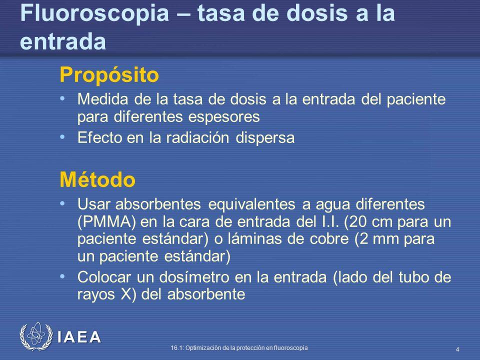 IAEA 16.1: Optimización de la protección en fluoroscopia 15 La tasa de dosis a la entrada del paciente en la superficie del maniquí crece hasta 24.8 mGy/min (recuérdese que la lectura era 8.85 con 20 cm de espesor).