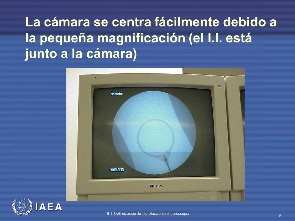 IAEA 16.1: Optimización de la protección en fluoroscopia 17 En el modo de alto contraste la tasa de dosis de radiación dispersa (30 cm de PMMA) aumenta hasta 7 mGy/h.