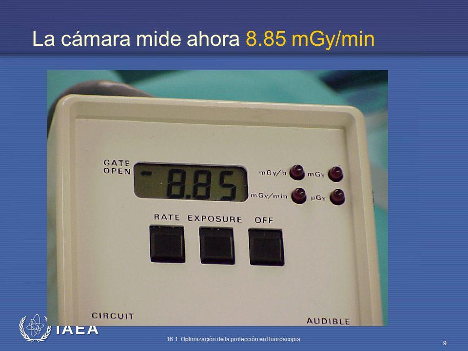 IAEA 16.1: Optimización de la protección en fluoroscopia 20 Con 30 cm de PMMA la tasa de dosis debida a radiación dispersa es de 3 mGy/h.