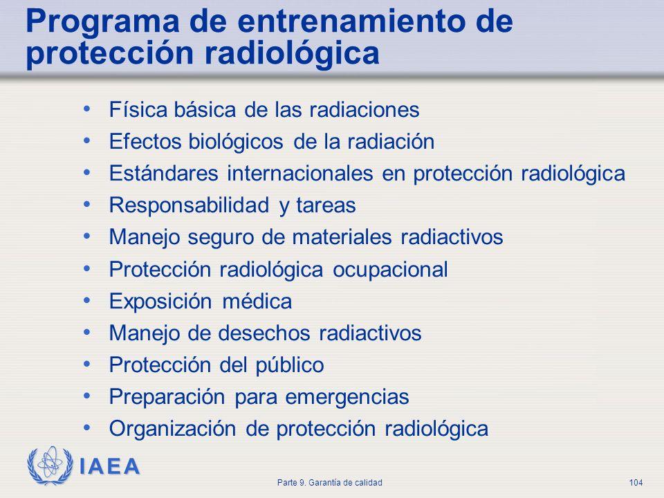 IAEA Parte 9. Garantía de calidad104 Programa de entrenamiento de protección radiológica Física básica de las radiaciones Efectos biológicos de la rad