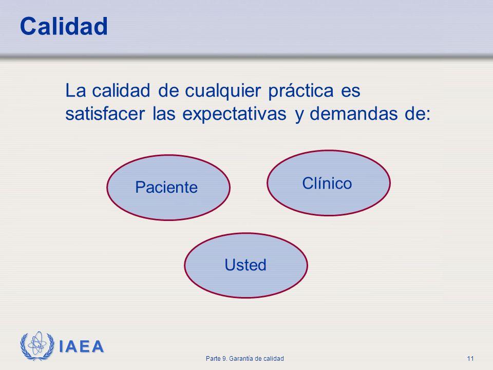 IAEA Parte 9. Garantía de calidad11 Calidad La calidad de cualquier práctica es satisfacer las expectativas y demandas de: Paciente Clínico Usted