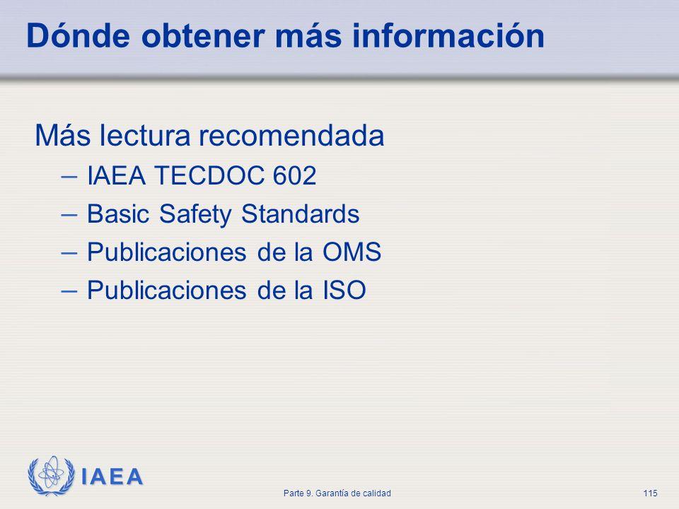 IAEA Parte 9. Garantía de calidad115 Dónde obtener más información Más lectura recomendada – IAEA TECDOC 602 – Basic Safety Standards – Publicaciones