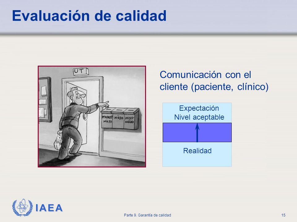 IAEA Parte 9. Garantía de calidad15 Evaluación de calidad Comunicación con el cliente (paciente, clínico) Expectación Nivel aceptable Realidad