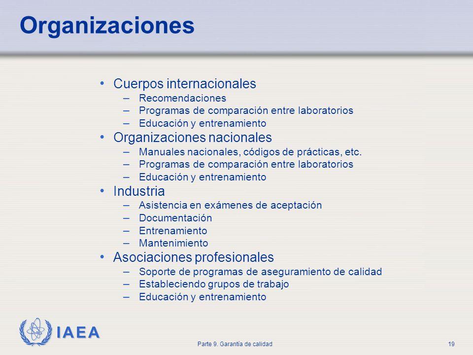 IAEA Parte 9. Garantía de calidad19 Cuerpos internacionales – Recomendaciones – Programas de comparación entre laboratorios – Educación y entrenamient