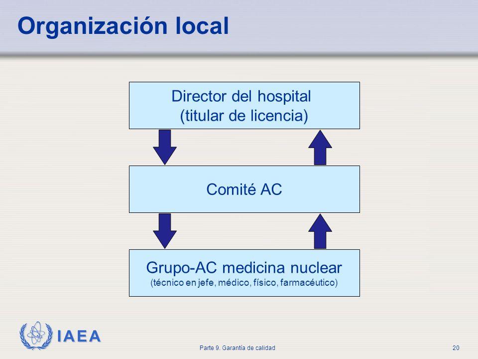 IAEA Parte 9. Garantía de calidad20 Organización local Director del hospital (titular de licencia) Comité AC Grupo-AC medicina nuclear (técnico en jef