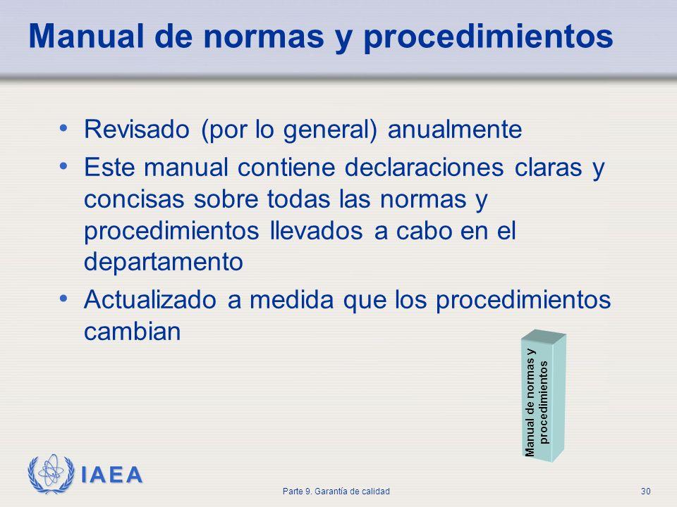 IAEA Parte 9. Garantía de calidad30 Manual de normas y procedimientos Revisado (por lo general) anualmente Este manual contiene declaraciones claras y