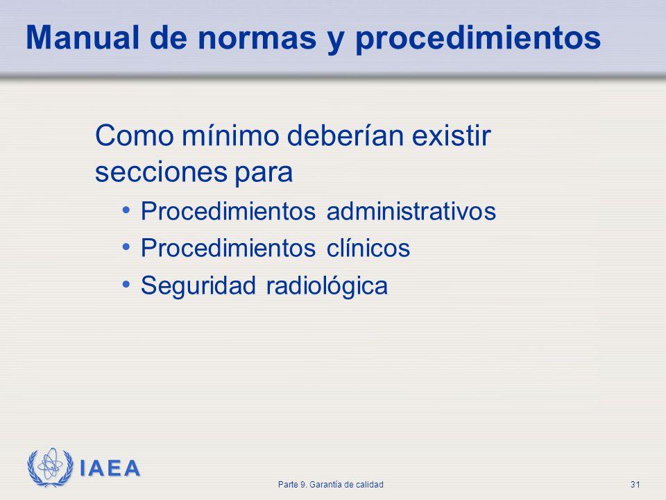 IAEA Parte 9. Garantía de calidad31 Manual de normas y procedimientos Como mínimo deberían existir secciones para Procedimientos administrativos Proce