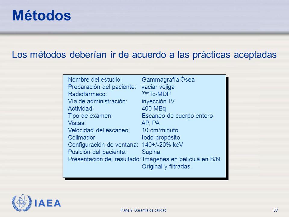 IAEA Parte 9. Garantía de calidad33 Los métodos deberían ir de acuerdo a las prácticas aceptadas Nombre del estudio: Gammagrafía Ósea Preparación del