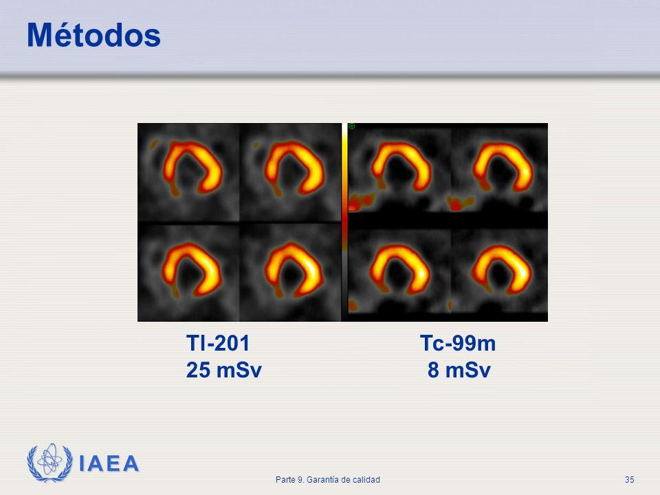 IAEA Parte 9. Garantía de calidad35 Métodos Tl-201 Tc-99m 25 mSv 8 mSv