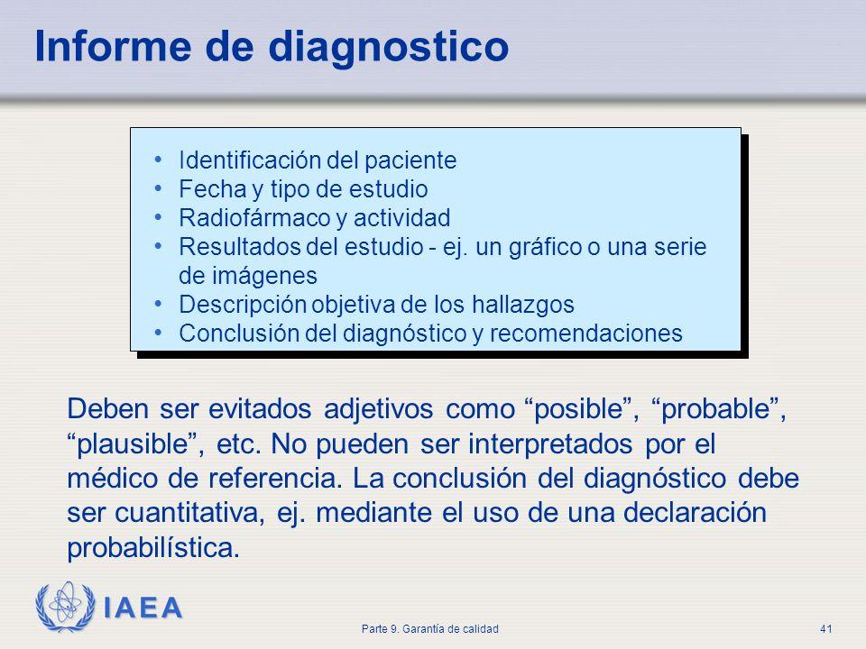 IAEA Parte 9. Garantía de calidad41 Informe de diagnostico Identificación del paciente Fecha y tipo de estudio Radiofármaco y actividad Resultados del