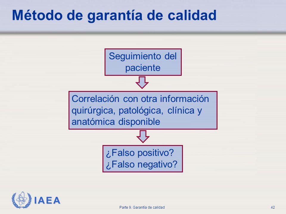 IAEA Parte 9. Garantía de calidad42 Seguimiento del paciente Correlación con otra información quirúrgica, patológica, clínica y anatómica disponible ¿