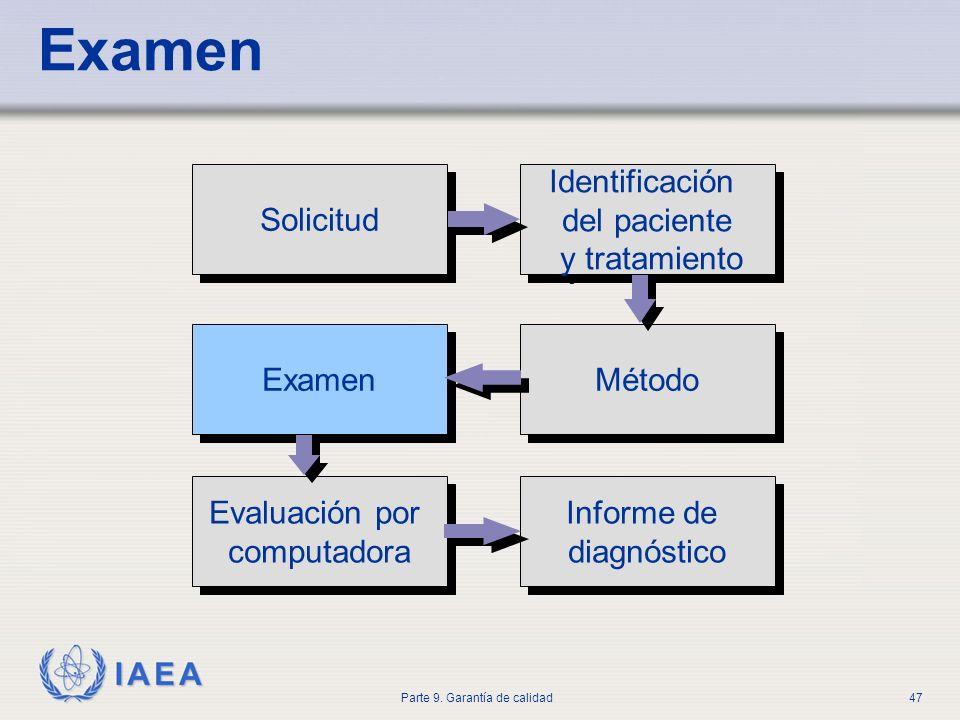 IAEA Parte 9. Garantía de calidad47 Examen Solicitud Identificación del paciente y tratamiento Identificación del paciente y tratamiento Evaluación po