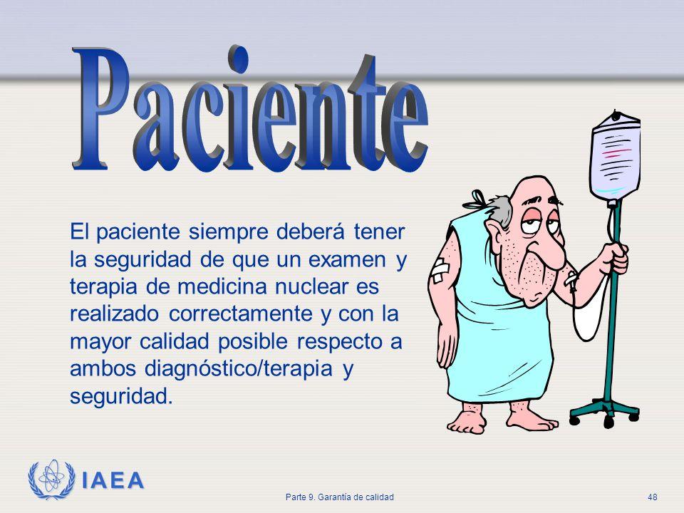 IAEA Parte 9. Garantía de calidad48 El paciente siempre deberá tener la seguridad de que un examen y terapia de medicina nuclear es realizado correcta