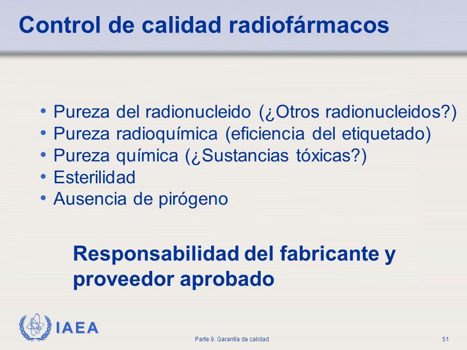 IAEA Parte 9. Garantía de calidad51 Control de calidad radiofármacos Pureza del radionucleido (¿Otros radionucleidos?) Pureza radioquímica (eficiencia