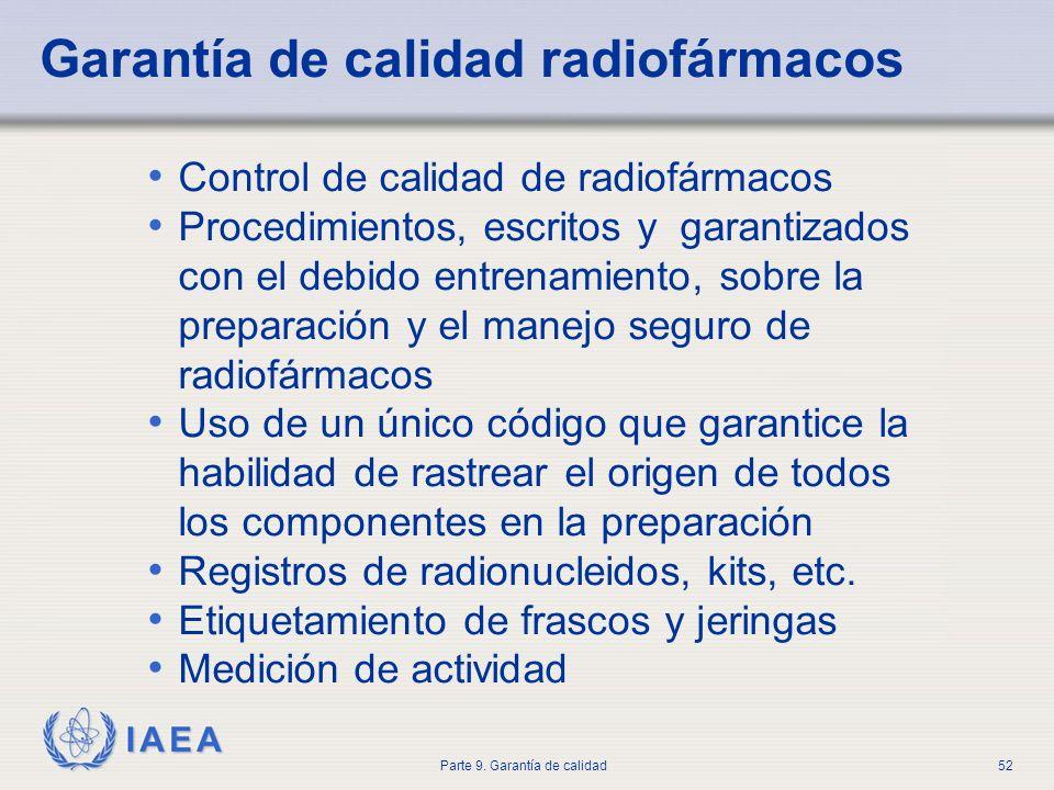 IAEA Parte 9. Garantía de calidad52 Control de calidad de radiofármacos Procedimientos, escritos y garantizados con el debido entrenamiento, sobre la