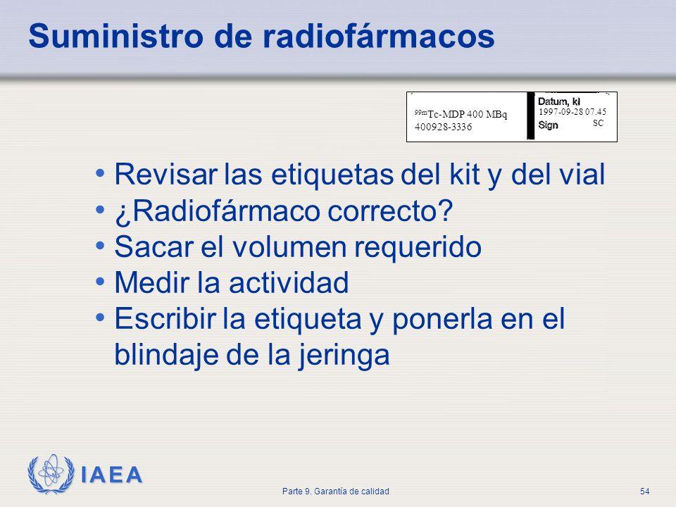 IAEA Parte 9. Garantía de calidad54 99m Tc-MDP 400 MBq 400928-3336 1997-09-28 07.45 SC Revisar las etiquetas del kit y del vial ¿Radiofármaco correcto
