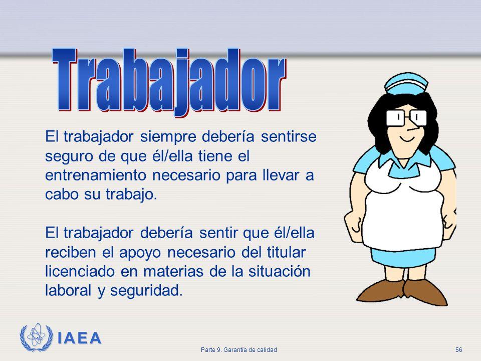 IAEA Parte 9. Garantía de calidad56 El trabajador siempre debería sentirse seguro de que él/ella tiene el entrenamiento necesario para llevar a cabo s