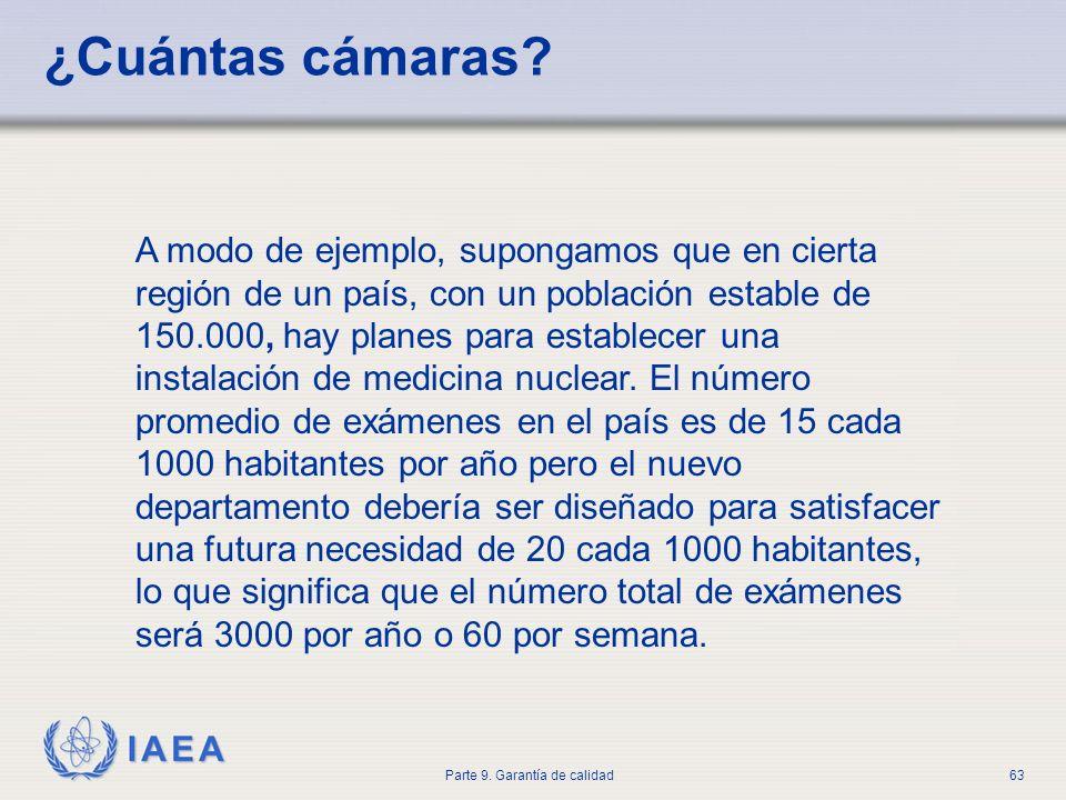 IAEA Parte 9. Garantía de calidad63 ¿Cuántas cámaras? A modo de ejemplo, supongamos que en cierta región de un país, con un población estable de 150.0