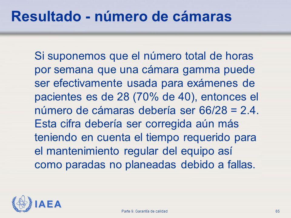 IAEA Parte 9. Garantía de calidad65 Si suponemos que el número total de horas por semana que una cámara gamma puede ser efectivamente usada para exáme