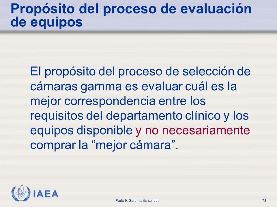 IAEA Parte 9. Garantía de calidad73 Propósito del proceso de evaluación de equipos El propósito del proceso de selección de cámaras gamma es evaluar c