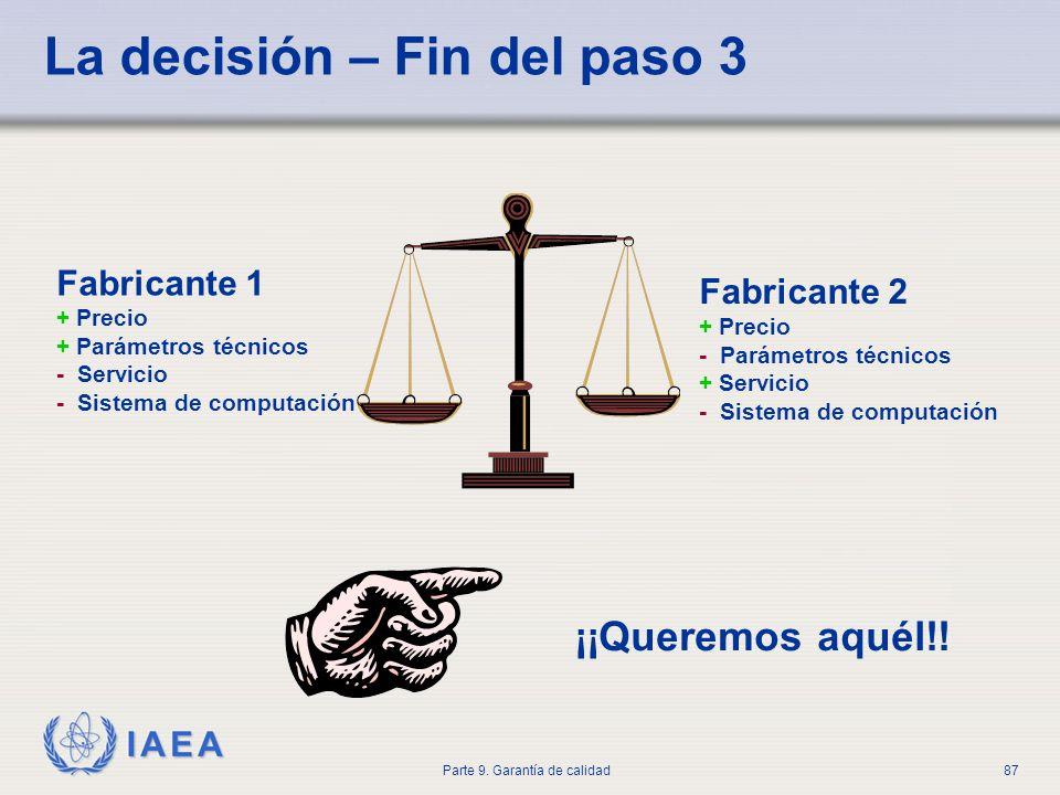 IAEA Parte 9. Garantía de calidad87 La decisión – Fin del paso 3 Fabricante 1 + Precio + Parámetros técnicos - Servicio - Sistema de computación Fabri