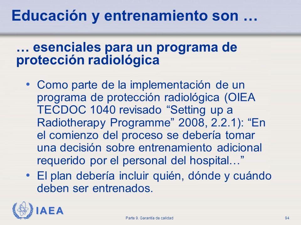 IAEA Parte 9. Garantía de calidad94 Educación y entrenamiento son … Como parte de la implementación de un programa de protección radiológica (OIEA TEC